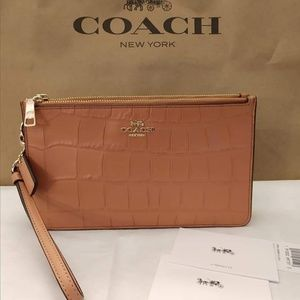 Coach Large Crocodile Embossed Leather Clutch